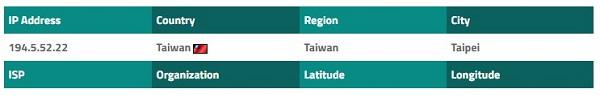在連接到VPN服務之前, 公共IP位於台灣