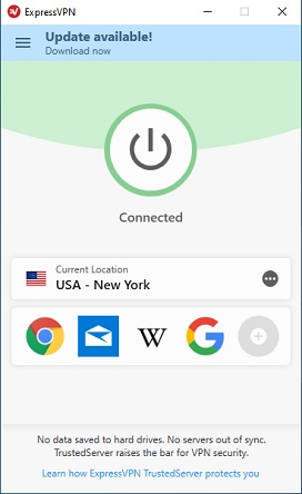 ExpressVPN連接到美國服務器